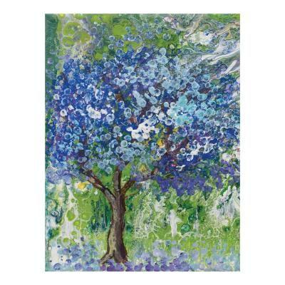 Poszter, tájkép virágzó fával, keret nélkül, 30x40 cm, zöld - AVRIL